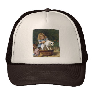 Giving the Dog a Bath - Dog Painting by de Schyver Trucker Hat