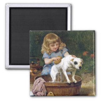 Giving the Dog a Bath - Vintage Dog Art 2 Inch Square Magnet