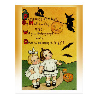 Giving the wee ones a fright at Halloween! Postcard
