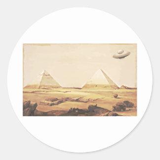 Giza Spaceship Round Stickers