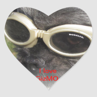 Gizmo the Dog that Helps others Heart Stickers