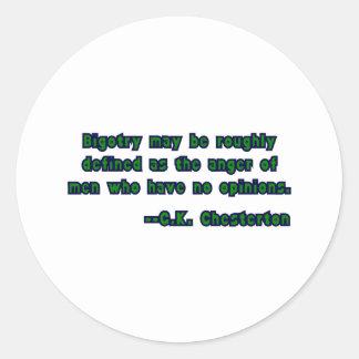 GK Chesterton & Bigotry Classic Round Sticker