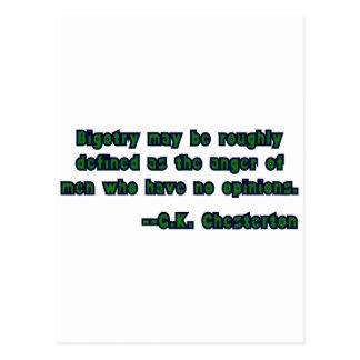 GK Chesterton & Bigotry Postcard