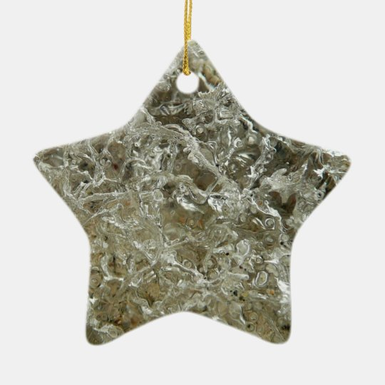 Glacial Ice Abstract Nature Textured Design Ceramic Ornament