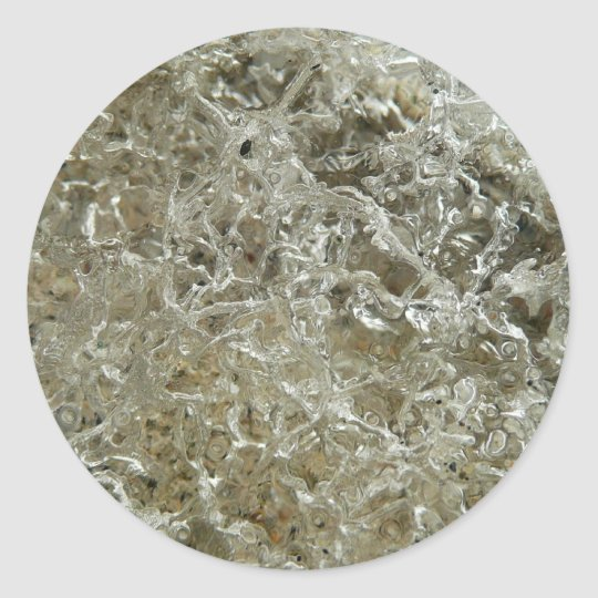 Glacial Ice Abstract Nature Textured Design Classic Round Sticker