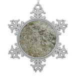 Glacial Ice Abstract Nature Textured Design Snowflake Pewter Christmas Ornament