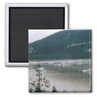Glacial Ice in Alaska 2 Inch Square Magnet