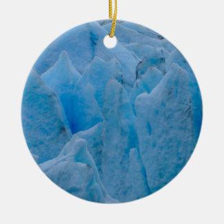 Glaciar azul adorno navideño redondo de cerámica