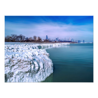 Glaciar congelado de la impresión ventosa de la fotografía