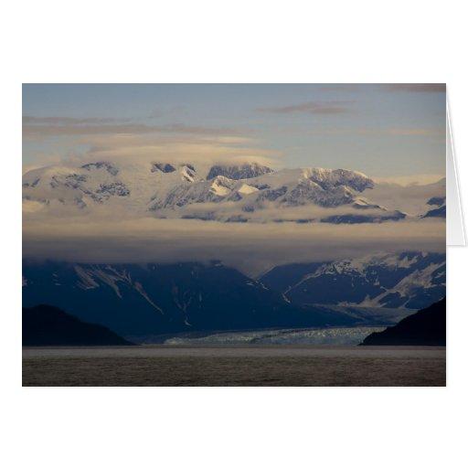 Glaciar de Hubbard, tarjeta de Navidad de la alba