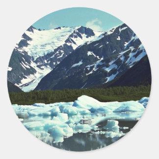 Glaciar de Portage, al norte del puerto Seward, Pegatina Redonda