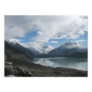 Glaciar del lago Tasman, montañas meridionales, Nu Impresión Fotográfica