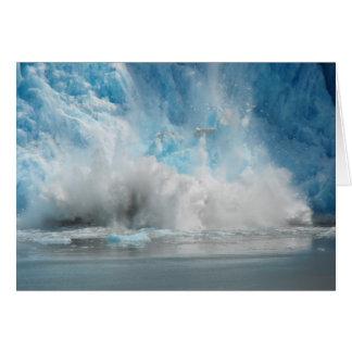Glaciar que cae tarjeta de felicitación