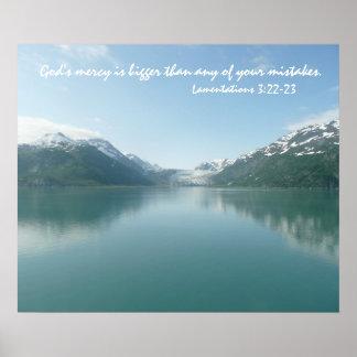 Glaciares de Alaska con el verso de la escritura Póster