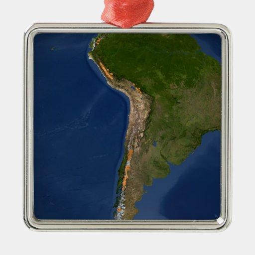 Glaciares en regiones de Suramérica Adorno Cuadrado Plateado