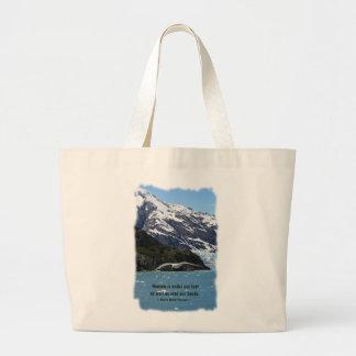 Glacier Bay con cita del pájaro/de Thoreau Bolsa De Tela Grande