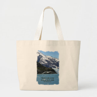 Glacier Bay con cita del pájaro/de Thoreau Bolsa Tela Grande