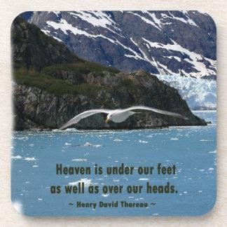 Glacier Bay con cita del pájaro/de Thoreau Posavasos De Bebidas