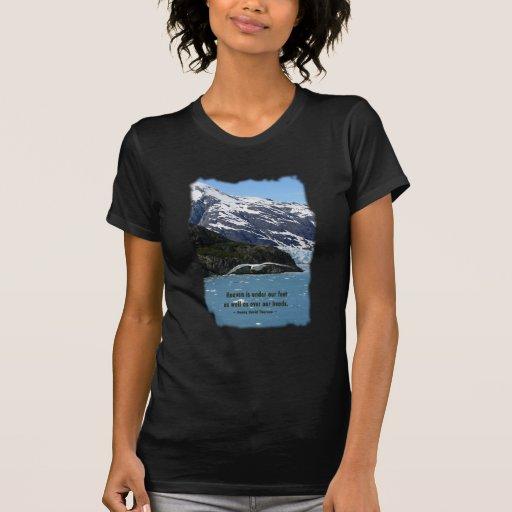 Glacier Bay con cita del pájaro/de Thoreau Remeras