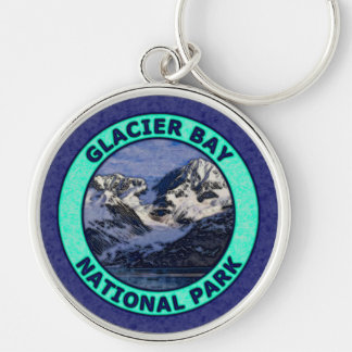 Glacier Bay National Park Silver-Colored Round Keychain