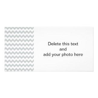 Glacier Gray White Chevron Pattern Photo Card