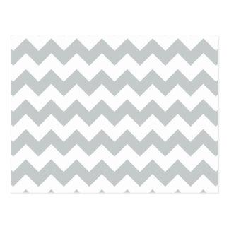 Glacier Gray White Chevron Pattern Postcard
