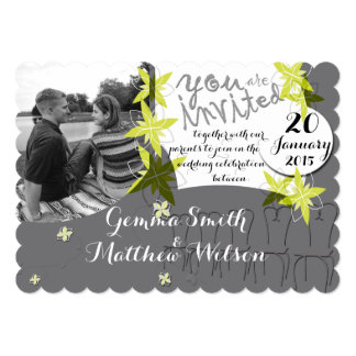 Glacier Grey Wedding Invitation with your photo