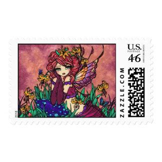 Glacier Lily Fairy Fae Mushroom Fantasy Art Stamp