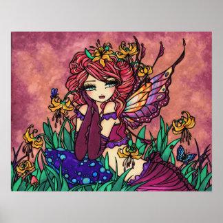 """Glacier Lily Fairy"" Mushroom Fantasy Forest Art Poster"