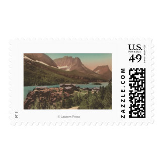 Glacier, MT - View of Chalets & Lake St. Marys Postage Stamp