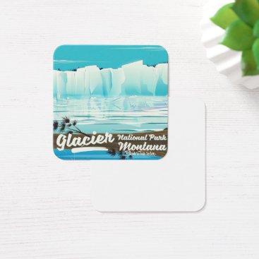 USA Themed Glacier National Park, Montana vintage poster Square Business Card