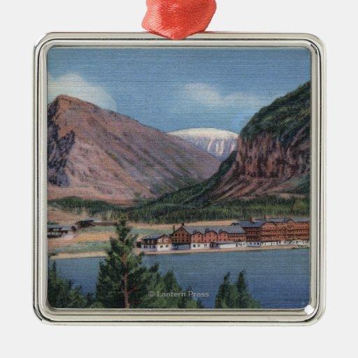 Glacier National Park, MT - Many Glacier Hotel 2 Square Metal Christmas Ornament