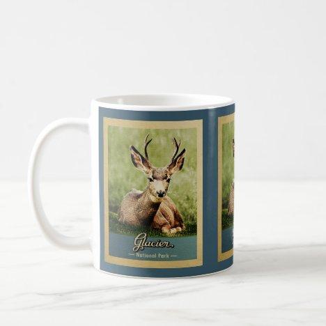 Glacier National Park Vintage Travel Deer Coffee Mug