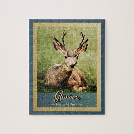 Glacier National Park Vintage Travel Deer Jigsaw Puzzle