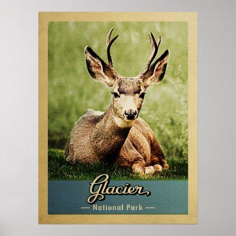 Glacier National Park Vintage Travel Deer Poster