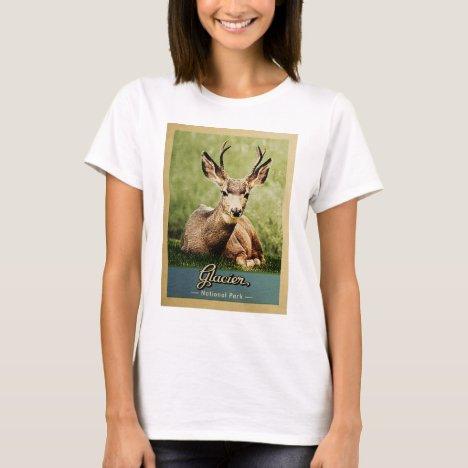 Glacier National Park Vintage Travel Deer T-Shirt
