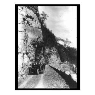 Glacier NP, Car at Crystal Point 1920 Vintage Postcard