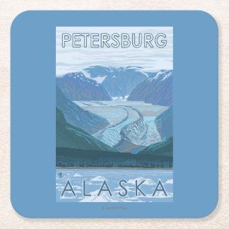 Glacier Scene - Petersburg, Alaska Square Paper Coaster