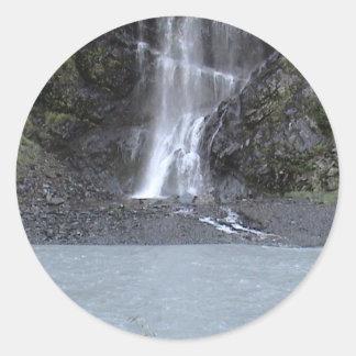 Glacier Waterfall Classic Round Sticker