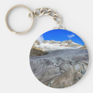 Glacier with a crack and snowy mountains keychain