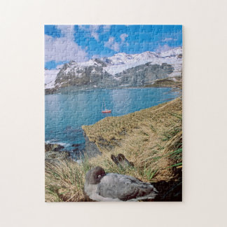 Glaciers and sailing yacht in background jigsaw puzzle