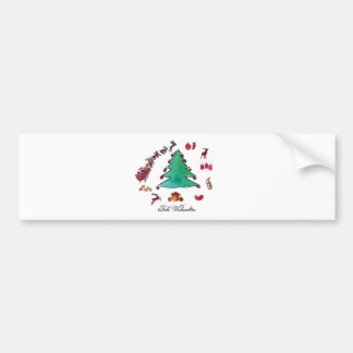 Glad Christmas with fir tree Bumper Sticker