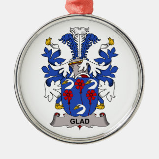 Glad Family Crest Round Metal Christmas Ornament