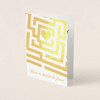 Glad I Found You Romantic Heart in Maze Foil Card