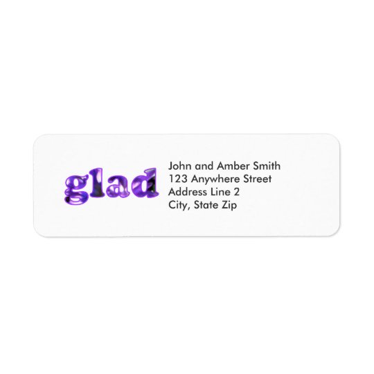 Glad spelled with purple flowers address labels