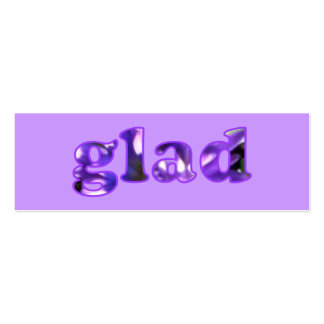 Glad spelled with purple flowers bookmarks mini business card