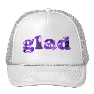 Glad spelled with purple flowers hats