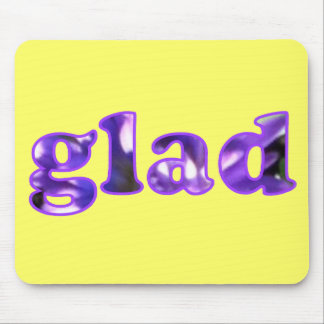 Glad spelled with purple flowers mousepads
