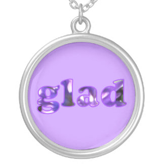 Glad spelled with purple flowers necklace