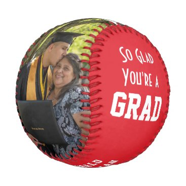 GLAD YOU'RE A GRAD 2 Photo Monogram Graduation Baseball